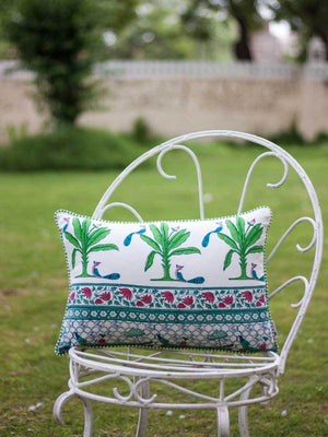 Festive Fervor Hand Block Print Cotton Cushion Cover - 14 X 20 Inch - Pinklay