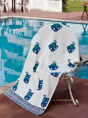 Haathi Hand Block Print Cotton Bath Towel - Pinklay