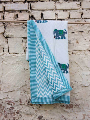Haathi Cotton Muslin Dohar, Hand Block Print Summer Blanket - Pinklay