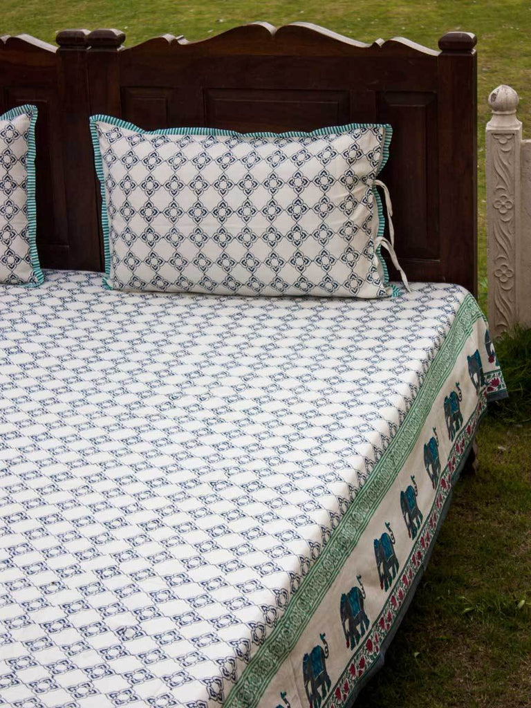 Onam Hand Block Print Cotton Double Bed Sheet Set With 2 Pillow Covers - Pinklay