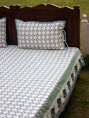 Onam Hand Block Print Cotton Double Bed Sheet Set With 2 Pillow Covers Bed Sheet