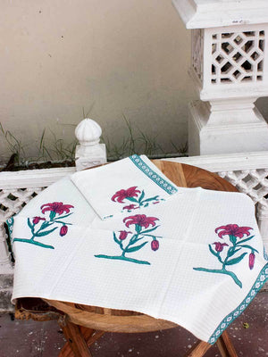 Onam Floral Hand Block Print Cotton Hand Towels - Set of 2 - Pinklay