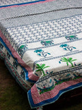 Atham Kantha Cotton Gudri; Double Layered Bed Cover - Pinklay