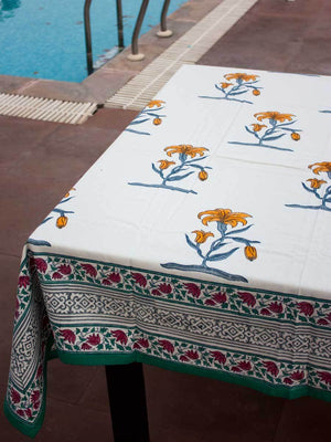 Mustard Floral Hand Block Print Cotton Table Cover - Pinklay