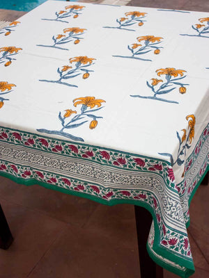Mustard Floral Hand Block Print Cotton Table Cover Table Cloths