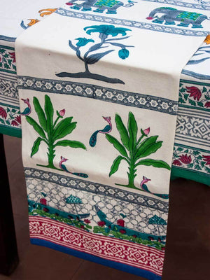 Kumarakaom Hand Block Print Cotton Table Runner - Pinklay
