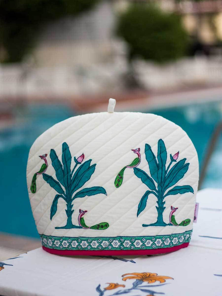 Vraksh Hand Block Print Cotton Quilted Tea Cozy - Pinklay