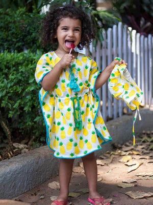 Ananaas Organic Cotton Kaftan for Kids - Pinklay