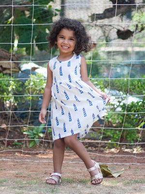 Lighthouse Organic Cotton Dress with a Pocket - Pinklay