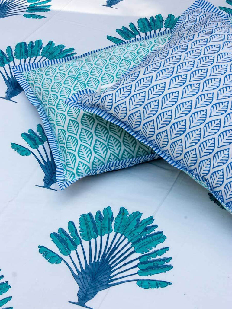 Palm Hand Block Print Cotton Double Bed Sheet Set With 2 Pillow Covers - Pinklay