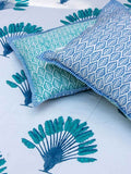 Palm Hand Block Print Cotton Pillow Cover - Set of 2