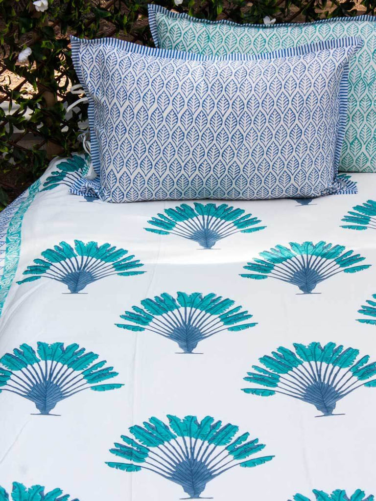 Palm Hand Block Print Cotton Double Bed Sheet Set With 2 Pillow Covers Bed Sheet