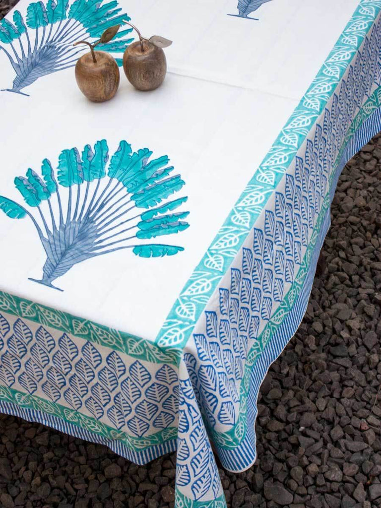 Palm Hand Block Print Cotton Table Cover - Pinklay