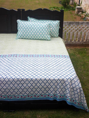 Panna Meena Hand Block Print Cotton Bed Sheet Set With Complementing Pillow Covers