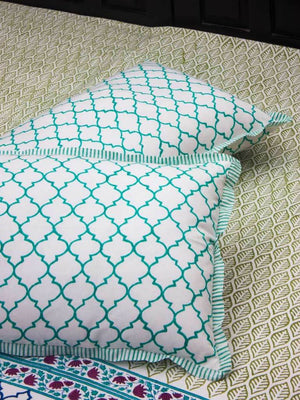 Panna Meena Hand Block Print Cotton Pillow Cover - Set of 2