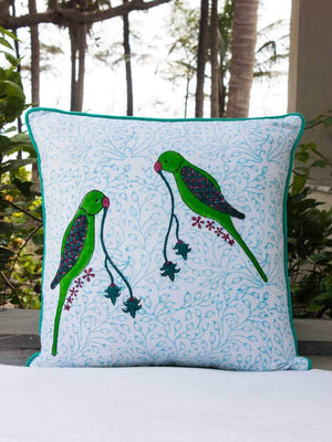 Parrot Hand Block Print Double Side Printed Cotton Cushion Cover - 16 Inch - Pinklay