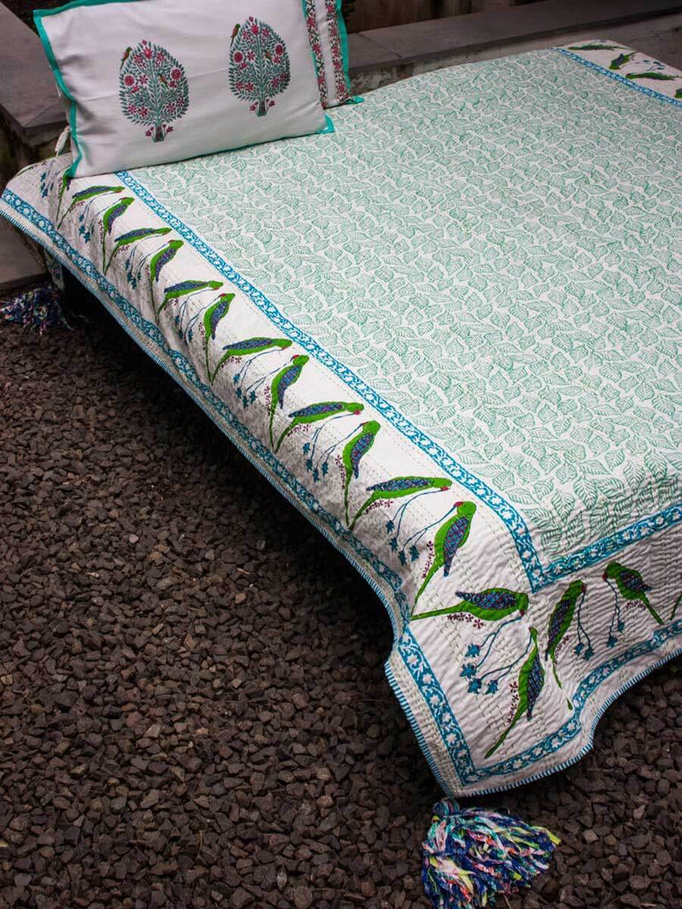 Parrot Kantha Cotton Gudri; Double Layered Bed Cover With Tassels - Pinklay
