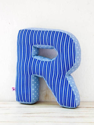 Personalized Alphabet Shaped Pillow - Blue Flush Kids Alphabets Cushions