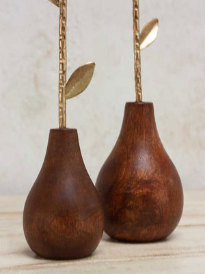 Gold Petal on Solid Wood Base Candle Stand - Set of 2