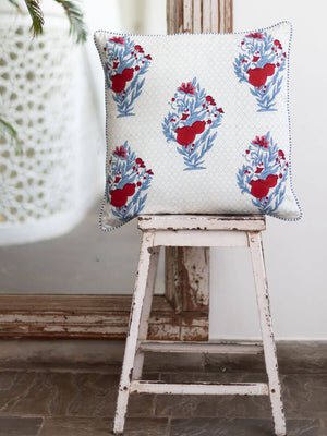 Pinar Hand Block Print Cotton Cushion Cover - Pinklay