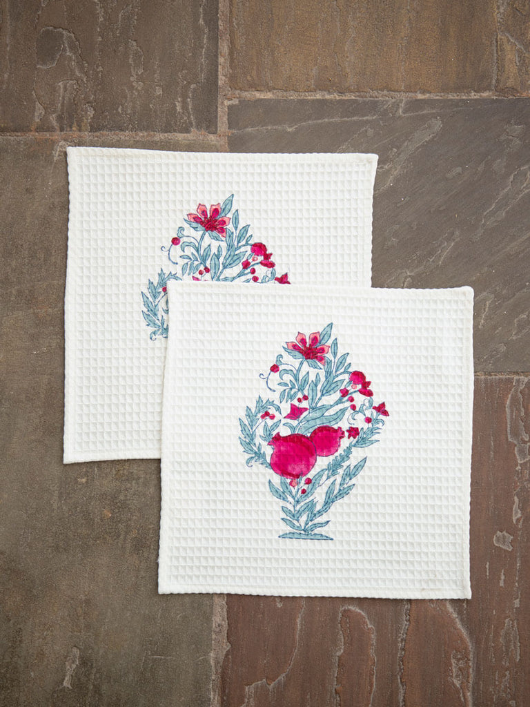 Pinar Hand Block Print Cotton Face Towels - Pinklay