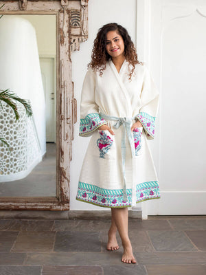 Pinar Hand Block Print Cotton Bath Robe - Pinklay