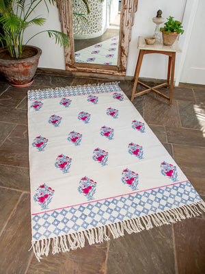 Pinar Hand Block Print Cotton Dhurrie Rug - Pinklay