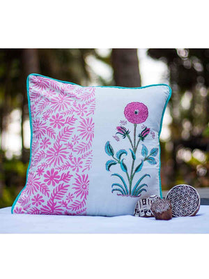 Marigold Hand Block Print Cotton Cushion Cover - 16 Inch - Pinklay