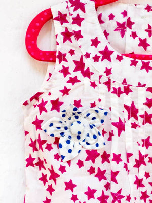 Deep Pink Starry Sky Pin-Tuck Layered Frock with a Bow - Pinklay