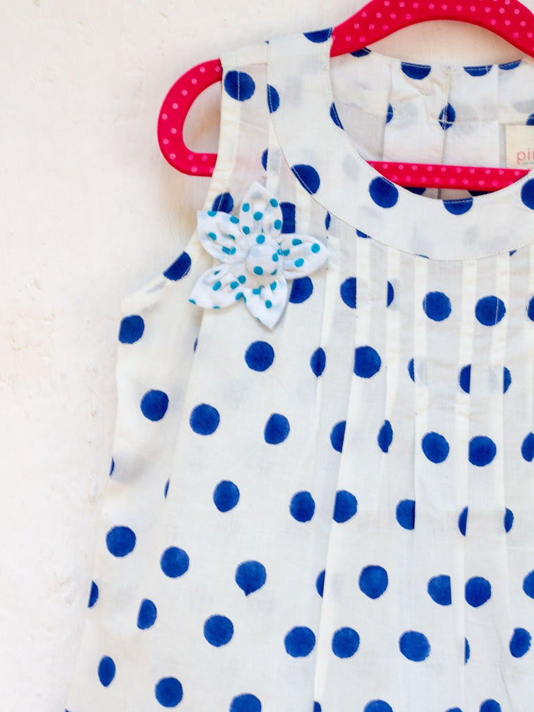 Indigo Polka Pin-Tuck Layered Frock with a Bow Kids Clothing
