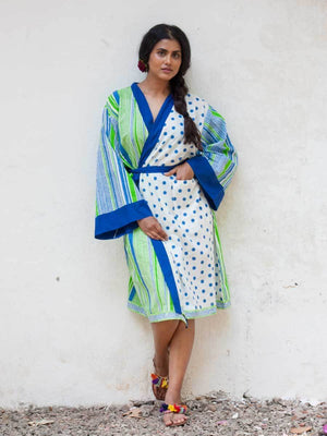 Polka Love Hand Block Printed Kimono/Robe Bath Robes
