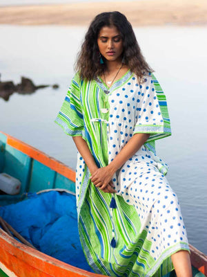 Pool Party Hand Block Printed Cotton Kaftan Kaftans