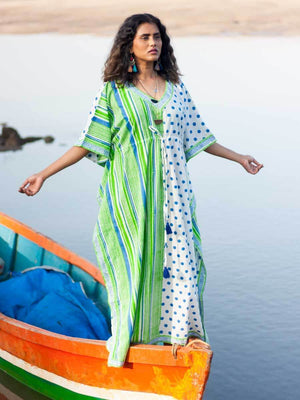 Pool Party Hand Block Printed Cotton Kaftan - Pinklay