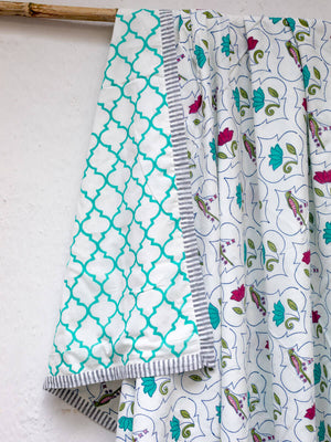Rambagh Cotton Muslin Dohar, Hand Block Print Summer Blanket - Pinklay
