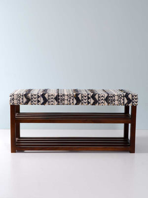 Rebeccah Acacia Solid Wood Storage Bench With Upholstery