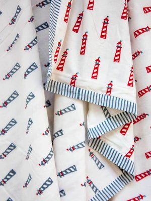 Red Lighthouse GOTS Certified Organic Cotton Reversible Dohar Blanket - Teen/Adult New Kids Collection