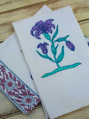 Romantic Lavender Hand Block Print Cotton Hand Towels - Pinklay