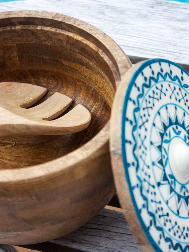 Mandala Solid Wood Salad Bowls with Lid and Mixing Spoons - Set of 2 - Pinklay