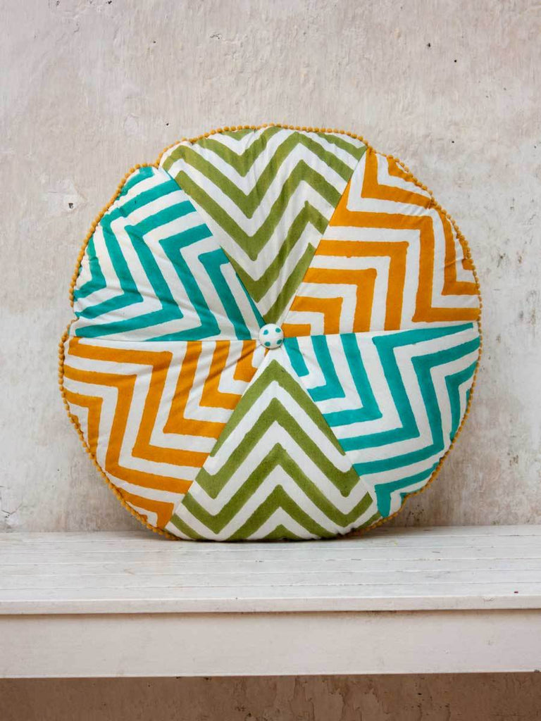 Santorini Hand Block Print Rainbow Pinwheel With Filler Cushions