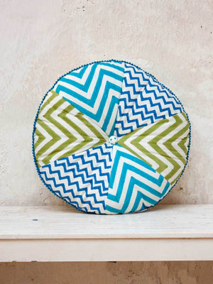 Santorini Hand Block Print Waves Pinwheel With Filler - Pinklay