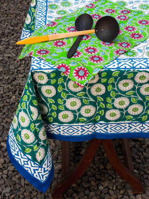 Seher Hand Block Print Cotton Table Cover - Pinklay