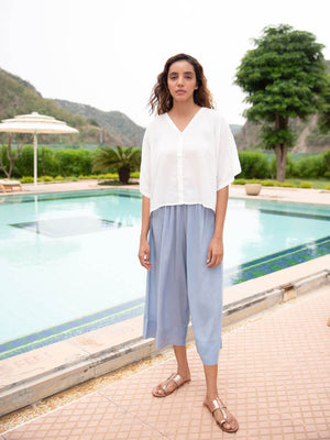Serenity Modal Silk Short Top & Lantern Pants Set - Pinklay