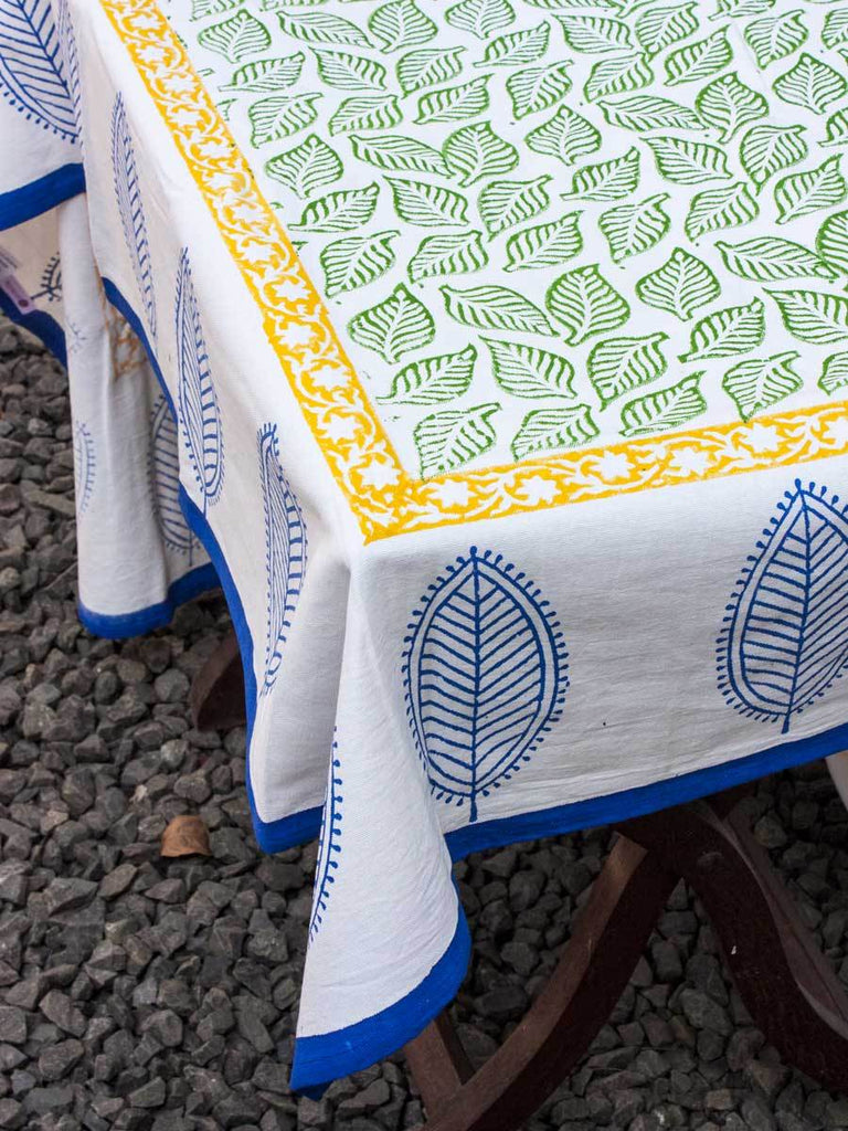 Singing Leaves Hand Block Print Cotton Table Cover - Pinklay