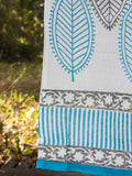 Turquoise Leaves Hand Block Print Cotton Curtain with Border & Concealed Loops Curtains