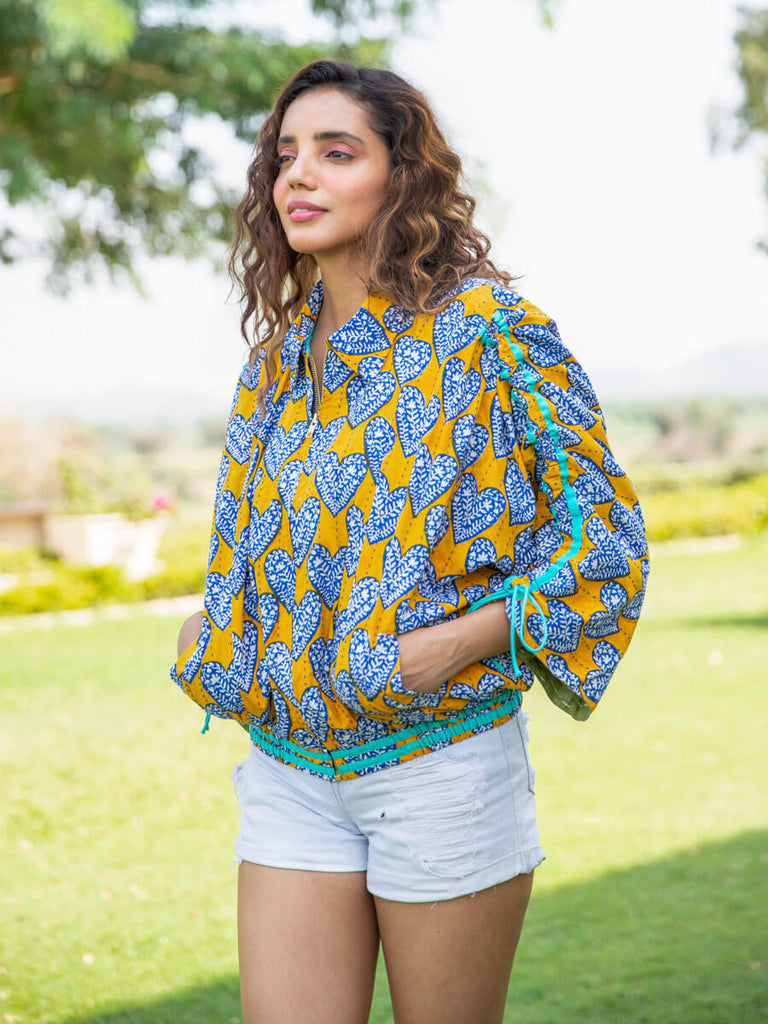 Sintra Kantha Embroidered Hand Block Print Bomber Jacket - Pinklay