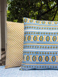Sitara Yellow Jaal Hand Block Print Double Sided Printed Cotton Pillow Cover - Set of 2 Pillow Covers