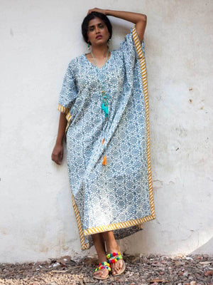 Sitara Hand Block Printed Cotton Kaftan - Pinklay