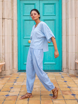 Evening Sky Cotton Slub Short Top & Lantern Pants Set - Pinklay