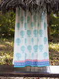 Summer Song Hand Block Print Cotton Curtain with Border & Concealed Loops - Pinklay