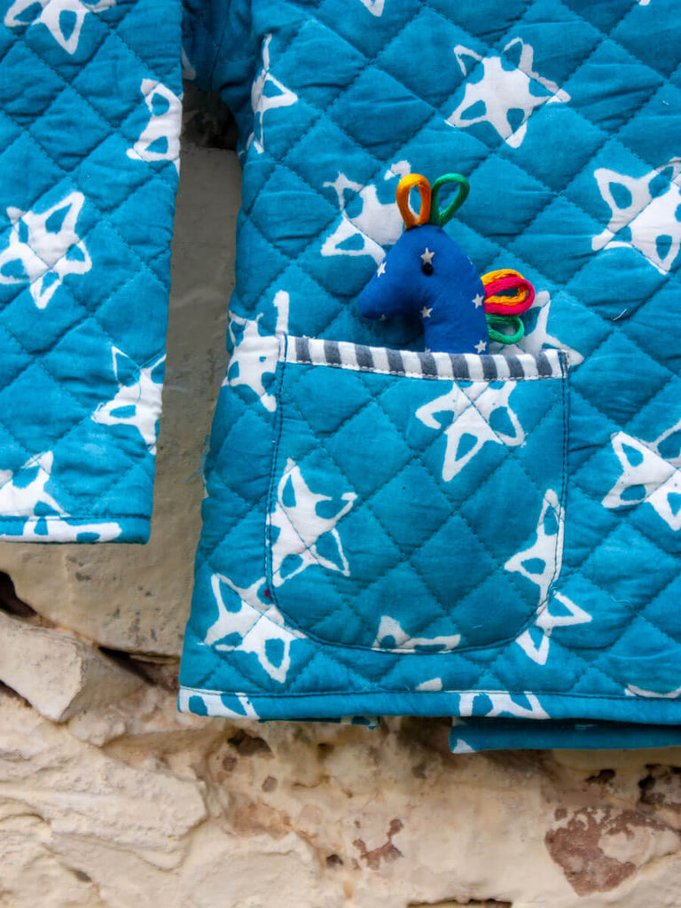 Starry Night Quilted Organic Cotton Angrakha Set - Pinklay